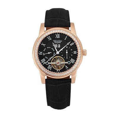 Valentino Coupeau 范倫鐵諾 古柏 閃耀晶橋機械錶 (玫殻/黑面/黑帶)