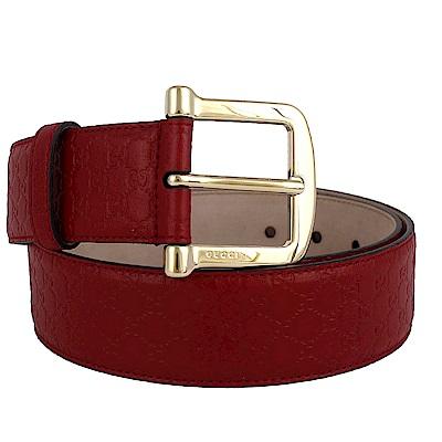 GUCCI Guccissima 釦環牛皮壓紋皮帶(紅色/85cm)