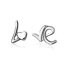 米蘭精品 925純銀耳環-LOVE亮面耳環