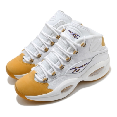Reebok 籃球鞋 Question Mid 運動 男鞋 明星款 戰神 避震 包覆 皮革 穿搭 白 黃 FX4278