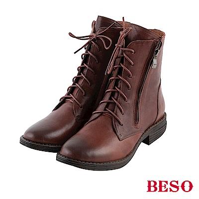 BESO 潮流酷感 拉鏈綁帶低跟短靴~茶