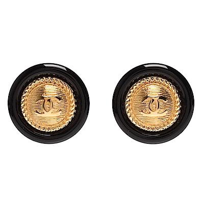 CHANEL 經典雙C LOGO羅紋金屬壓克力材質圓形穿式耳環(黑X金)