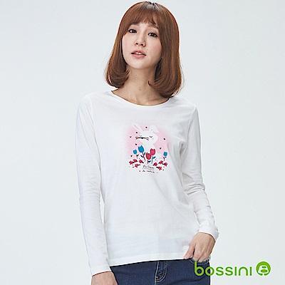 bossini女裝-印花長袖T恤07灰白