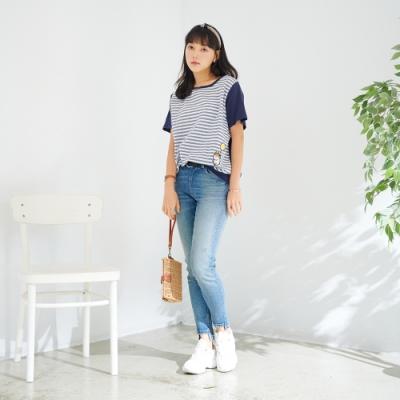 慢 生活 柯基貼布繡色織條紋上衣- 深藍/白