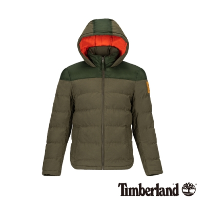 Timberland 男款軍綠色鋪棉連帽外套|A21EX