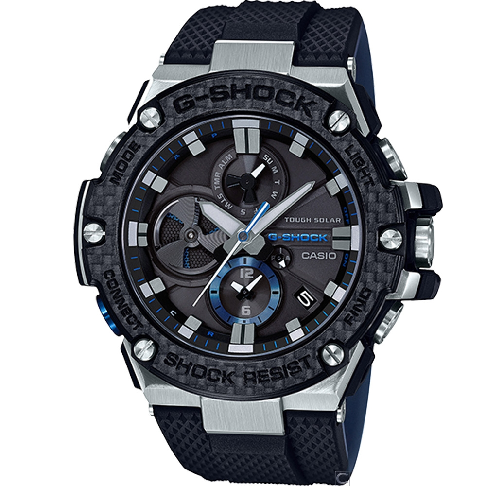 CASIO G-SHOCK 碳纖維錶圈藍牙功能運動錶(GST-B100XA-1A)