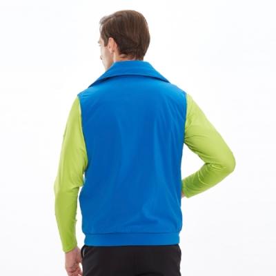【Lynx Golf】男款防潑水LXG防水反光貼條胸袋無袖鋪棉背心-寶藍色