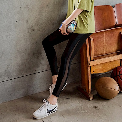 台灣製造~撞色網紗拼接修身顯瘦彈力運動內搭褲/瑜珈褲-OB大尺碼