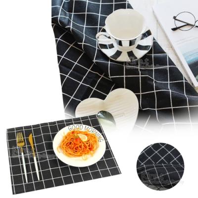 kiret 北歐極簡小清新zakka 百搭黑色格紋桌布/餐墊/桌巾 66x46cm