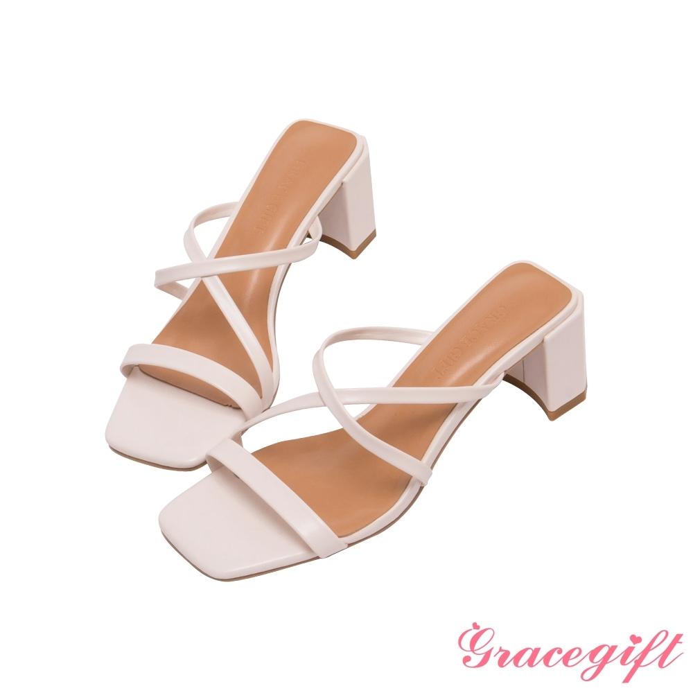 Grace gift-Z字細帶高跟涼拖鞋 白