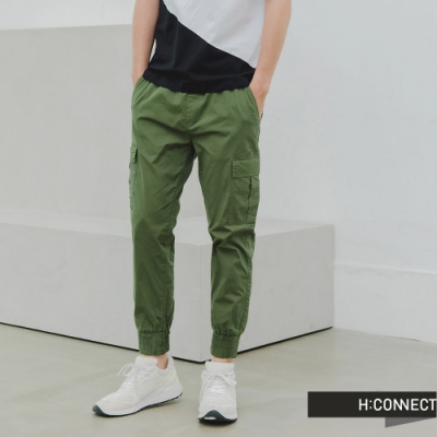 H:CONNECT 韓國品牌 男裝 -個性大口袋抽繩工裝褲-綠