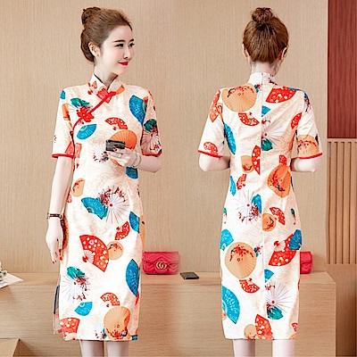 DABI 韓國風復古名媛改良旗袍印花時尚短袖洋裝