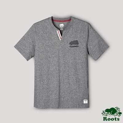 Roots男裝-愛最大加拿大日系列 V領短袖T恤-灰色