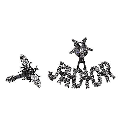 DIOR 經典J Adior系列鍍金復古金屬水鑽鑲飾不對稱蜜蜂造型穿式耳環(銀)