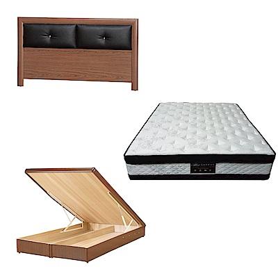 綠活居 盧戈6尺雙人加大床台三式組合(床頭片+後掀床底+正四線涼感獨立筒)五色可選