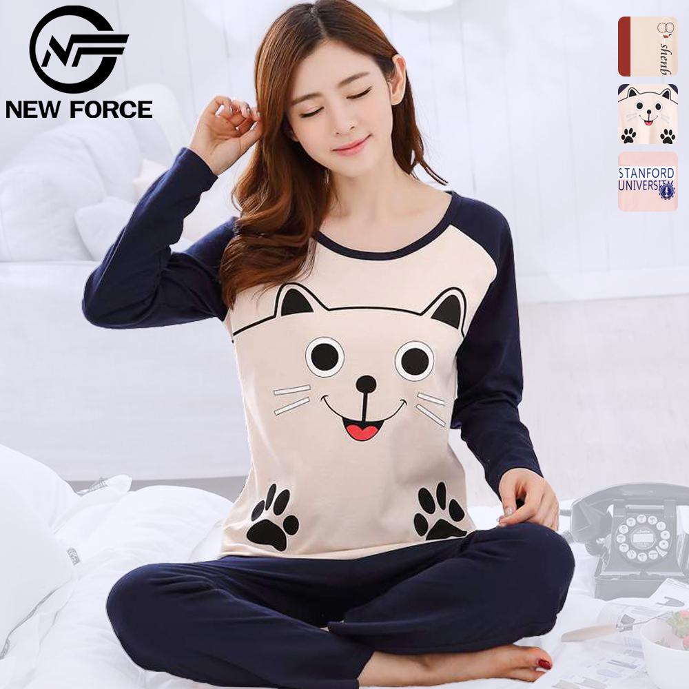 NEW FORCE 棉質柔膚兩件式睡衣-大臉貓款