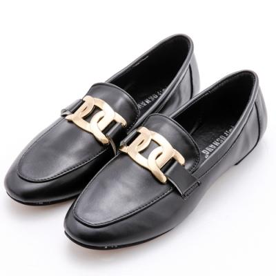 River&Moon小皮鞋 大金飾紳士樂福鞋 黑