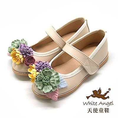 天使童鞋 杜樂莉花園公主鞋 J8006-米