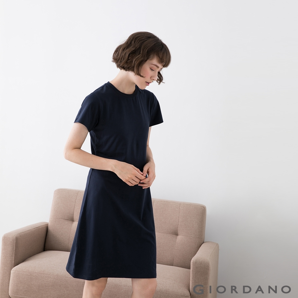 GIORDANO  女裝短袖居家洋裝 - 01 深藍