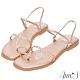 Ann'S網紅都想要的升級兩穿編織方頭平底涼鞋-玫瑰金(版型偏小) product thumbnail 1