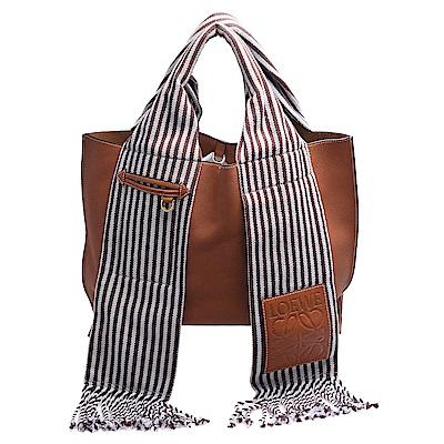 LOEWE 經典品牌LOGO烙印圍巾造型背帶小牛皮肩背托特包(駝X棕)