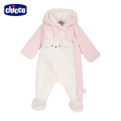 chicco-甜蜜小兔-造型連帽毛絨裡兔裝