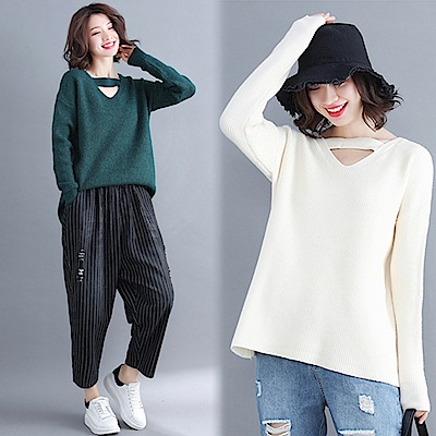 純色V領針織衫-共2色(F可選) NUMI 森