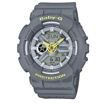 BABY-G 時尚百搭系列透氣洞洞設計休閒錶(BA-110PP-8A)灰色43.4mm