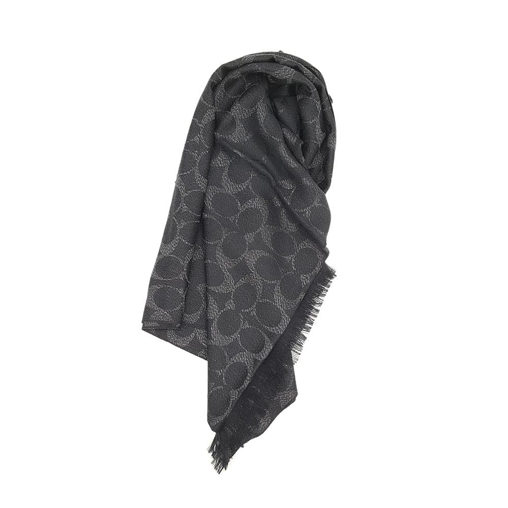 COACH 經典LOGO 羊毛混絲流蘇披肩圍巾-黑灰色 @ Y!購物