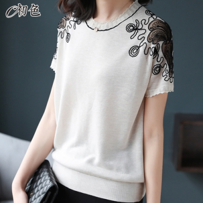 初色  蕾絲短袖針織衫-共2色-(F可選)