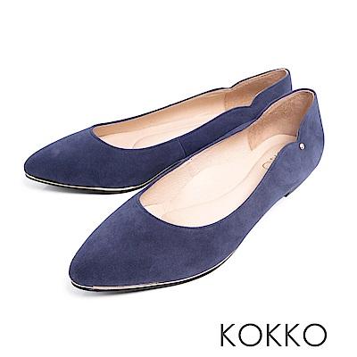 KOKKO - 優雅弧線尖頭點鑽真皮楔型鞋-莫蘭
