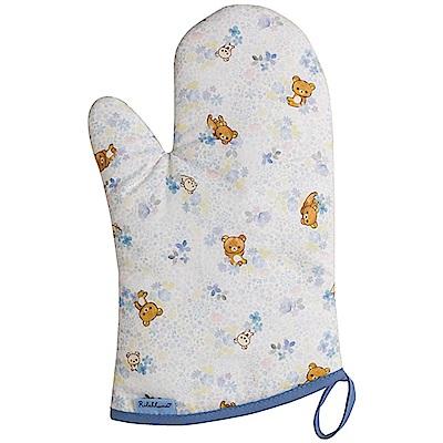 懶妹蜂蜜小熊的粉彩花園系列隔熱手套。藍 San-X