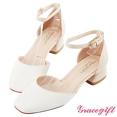 Grace gift-方頭撞色繫帶中跟鞋 白