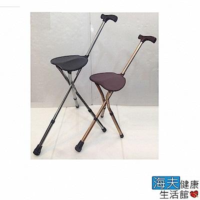 海夫健康生活館 防滑握把 六段高度調整 手杖椅 拐杖椅 (銀灰/香檳金)