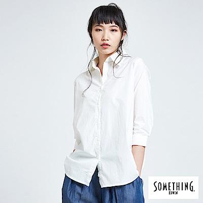 SOMETHING 拼接優雅襯衫-女-白色