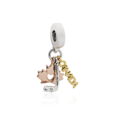 Pandora 潘朵拉 魅力三色加拿大標誌 垂墜純銀墜飾
