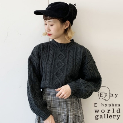 E hyphen 菱格紋麻花編織設計針織上衣