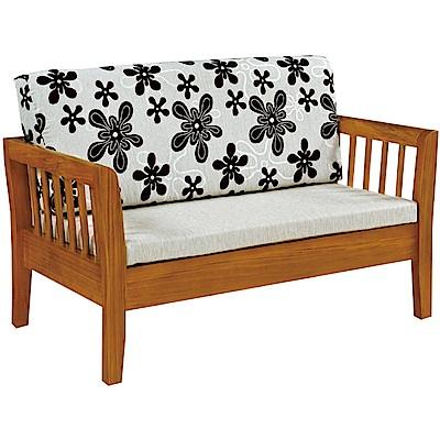 綠活居 麥尼典雅風亞麻布實木雙人座沙發椅-130x77x68cm免組