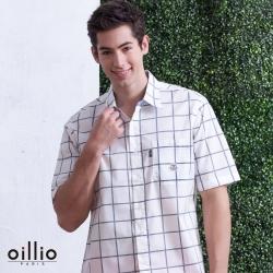 oillio歐洲貴族 男裝 短袖舒適透氣棉質襯衫 都會紳士風格 簡單格紋款式 白色
