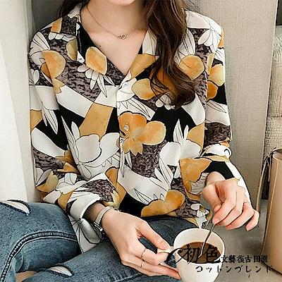 復古顯瘦印花襯衫-共2色(M-2XL可選)    初色