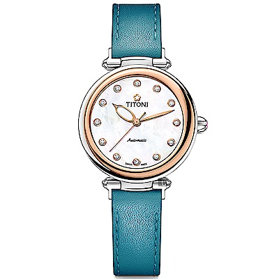 TITONI 梅花錶 炫美時尚之約械錶女錶-玫塊框x珍珠貝x藍錶帶/33.5mm