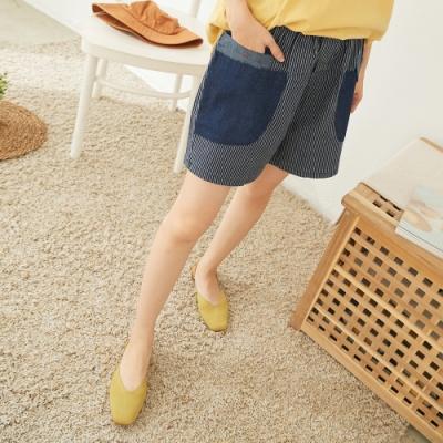 慢 生活 拼接口袋牛仔短褲- 深藍