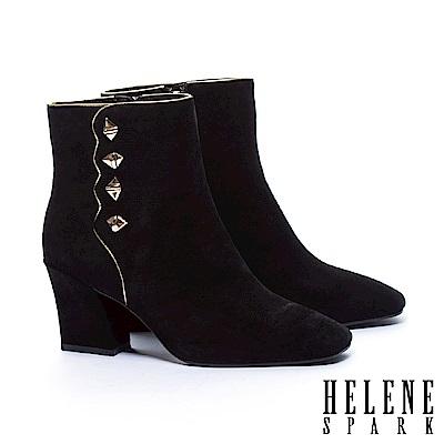 短靴 HELENE SPARK 復古率性鉚釘波浪剪裁全真皮高跟短靴-黑