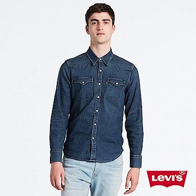 Levis 男款 牛仔襯衫 Barstow V型雙口袋 深藍水洗