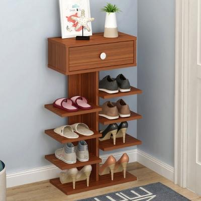 【Effect】簡約直立式歐風木紋收納鞋架(5層)