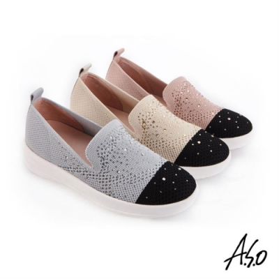 A.S.O 時尚流行 輕量抗震網布燙鑽休閒鞋-灰