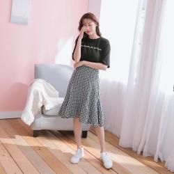 SUPER COLOR 黑色英文印花Tee+魚尾裙洋裝套裝