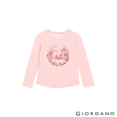 GIORDANO 童裝美好時光純棉T恤 - 32 粉末粉紅