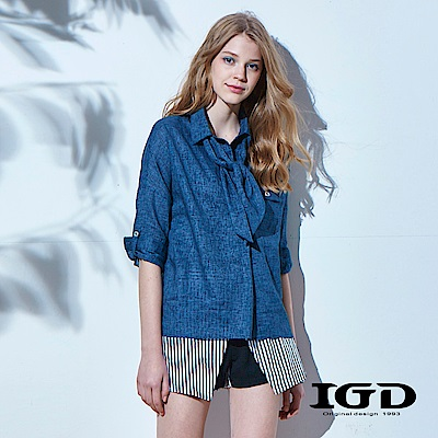 IGD英格麗 圍巾領設計超彈性上衣-藍色