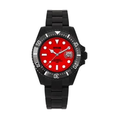 HYUN炫 男士設計精品錶-黑鋼紅底